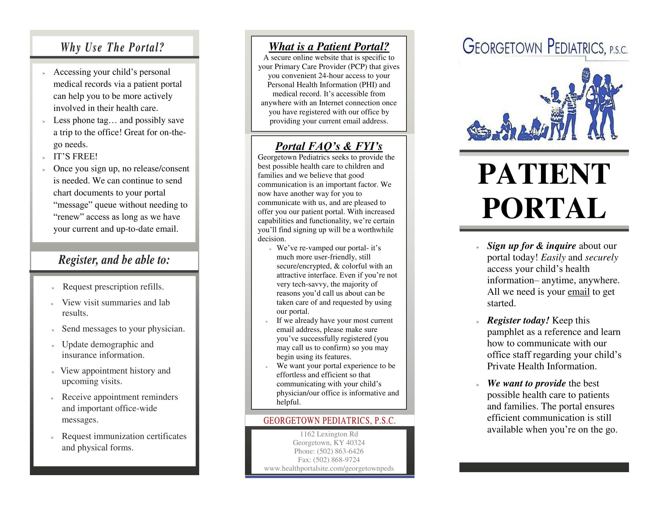 patient portal pamphlet- FRONT